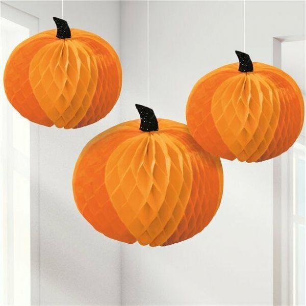 Halloween Pumpkin Honeycomb Hanging Decorations (3 pk)